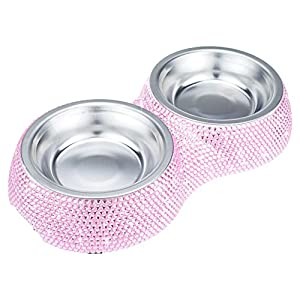 SAVORI Dog Bowls, 320ml/4.5 Ounce Handmade Sparkling Rhinestones Stainless Steel Pet Bowls Double Pet Food Water Feeder for Puppy Dogs Cats - Pink