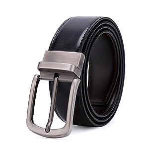 Durable Cinturón de Hombre, Cinturón Reversible de Cuero Bulliant para Hombre, Cinturón Reversible para Dos Colores, Adornos a Medida Accesorios de Vestir Vestido de cinturón