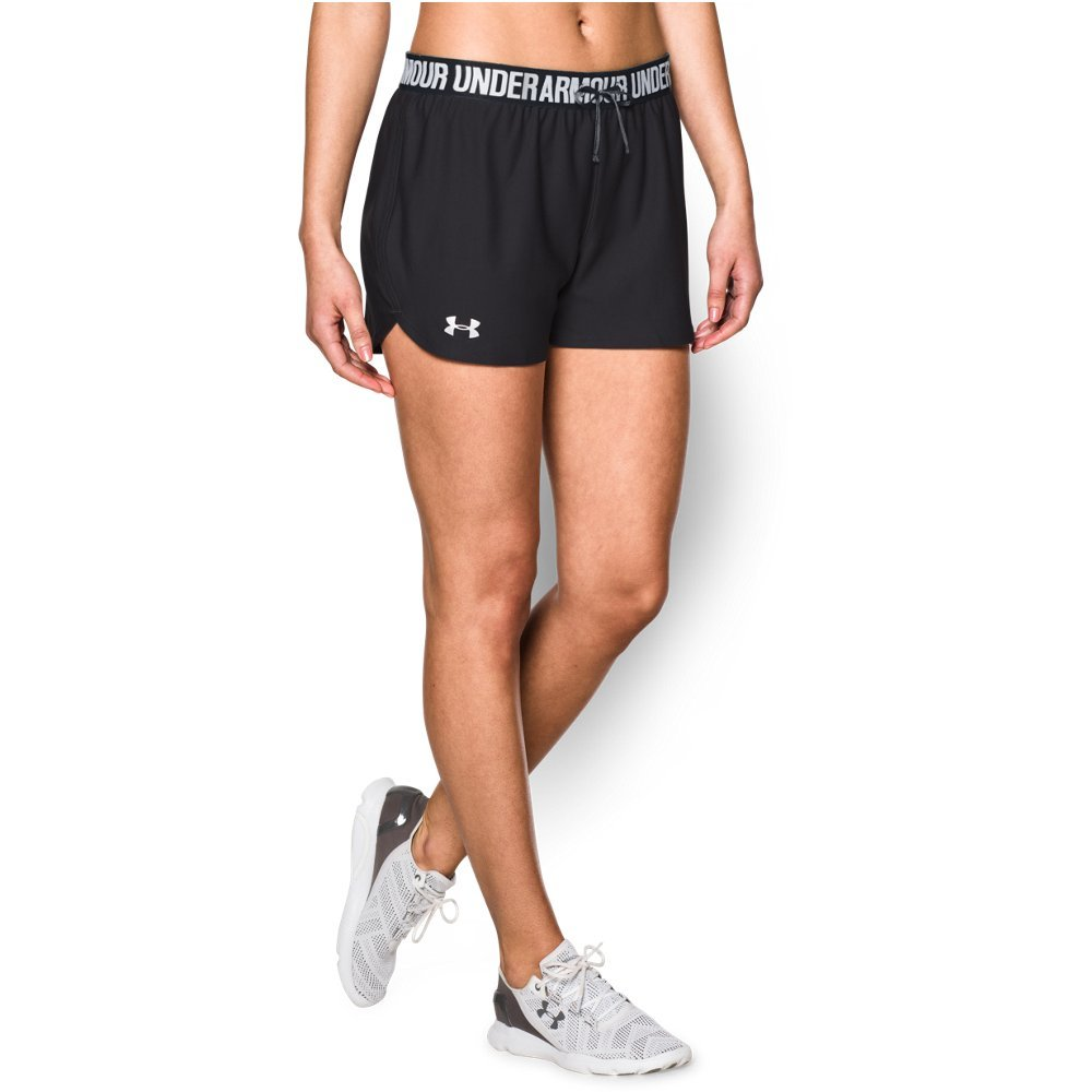 Under Armour Women's Play Up Shorts, Black (002)/Metallic Silver, Large