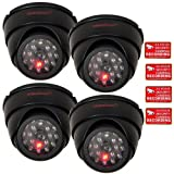 VideoSecu 4 Dummy Security Cameras Fake Dome Surveillance Cameras Simulated Infrared LEDs with Flashing Light C4B, Best Gadgets