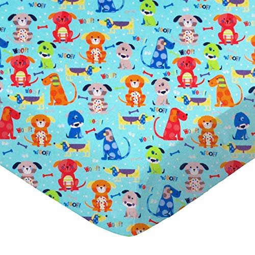 SheetWorld Fitted 100% Cotton Flannel Pack N Play Sheet 29 x 42, Doggies Aqua, Made in USA ()