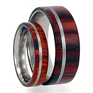 Titanium Pinstripe Ring, Ironwood, His and Hers Wedding Band Set, M13-F5