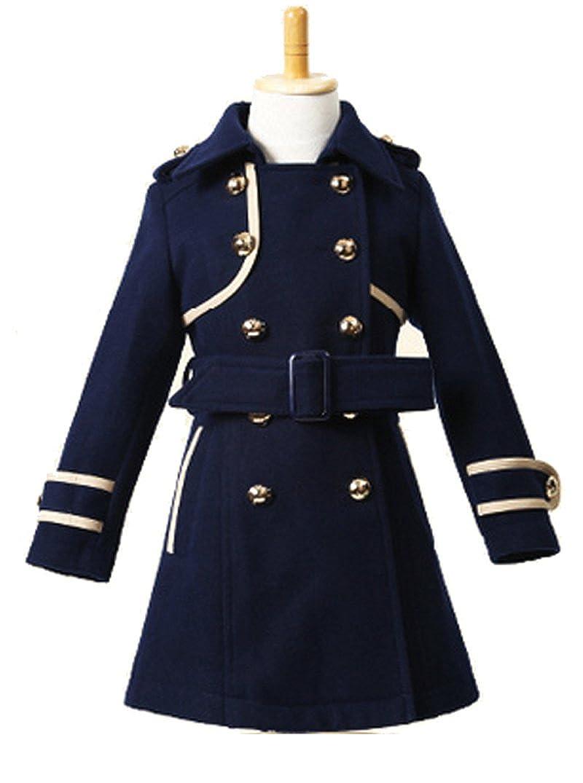 012d22bfd28d Amazon.com  Big Girls Elegant Wool Blends Slim Trench Coat Winter ...