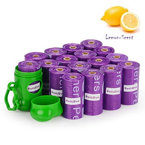 PetLove 240-Count Durable Biodegradable Environment-Friendly Dog Waste Bag, Lemon-Scented Poop Bag with EPI-Technology, Dispenser Included (15 Bags/Roll, 16 Rolls) - Lemon-Scented