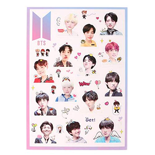 Nuofeng - BTS Stickers Bangtan Boys Gold-Plated Support Light Cute Cartton Stickers for Laptop Decoration Cellphone Decals (H21)