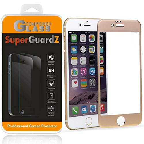 """For iPhone 6S 4.7"""" / iPhone 6 4.7"""" - SuperGuardZ 3D Curved Tempered Glass Screen Protector w/ Titanium Alloy Frame [Gold], FULL COVERAGE, EDGE-TO-EDGE, 9H, Anti-Scratch, Anti-Bubble"""