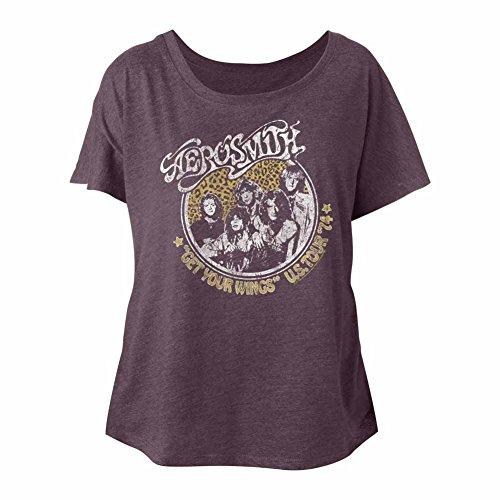 Aerosmith American Rock Band Get Wings '74 US Tour Ladies Slouchy T-Shirt - Rocks Kramer