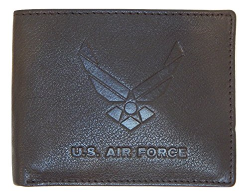 - US Armed Forces Collection Mens Genuine Leather Wallets - Gift Boxed Bi-Fold and Tri-Fold Leather Wallets (US Airforce Bi-Fold,Brown)