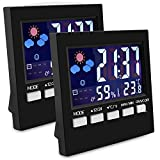 EEEKit Indoor Thermometer With Digital Hygrometer, 2-pack Color Digital LCD Display Hygrometer Humidity Monitor Sensor Room Multifunctional Humidity Gauge With Alarm Clock/Thermomete