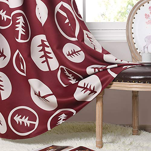 (PONY DANCE Christmas Print Curtains - Home Fashion Mysterious Pine Tree Patterned Panels Sunlight Exposing Heavy-Duty Drapery for Living Room/Sliding Door (Rumba Red/Beige, 52