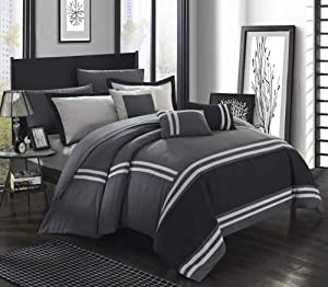 Chic Home Zarah 10 Piece Comforter Bedding with Sheet Set and Decorative Pillows Shams Queen Grey