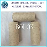 FINCOS 20pcs/lot 100% Natural Color 10ply Cotton Cords Twisted Cotton String Twine for All Kinds Packing Such as Food, Sugar, Meat