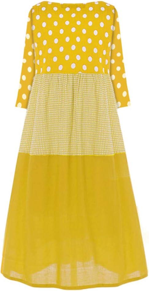 AmyGline długa sukienka damska, letnia sukienka w stylu vintage, boho, z nadrukiem w kropki, bez rękawÓw, sukienka maxi, długa sukienka bawełniana, sukienka plażowa: Odzież