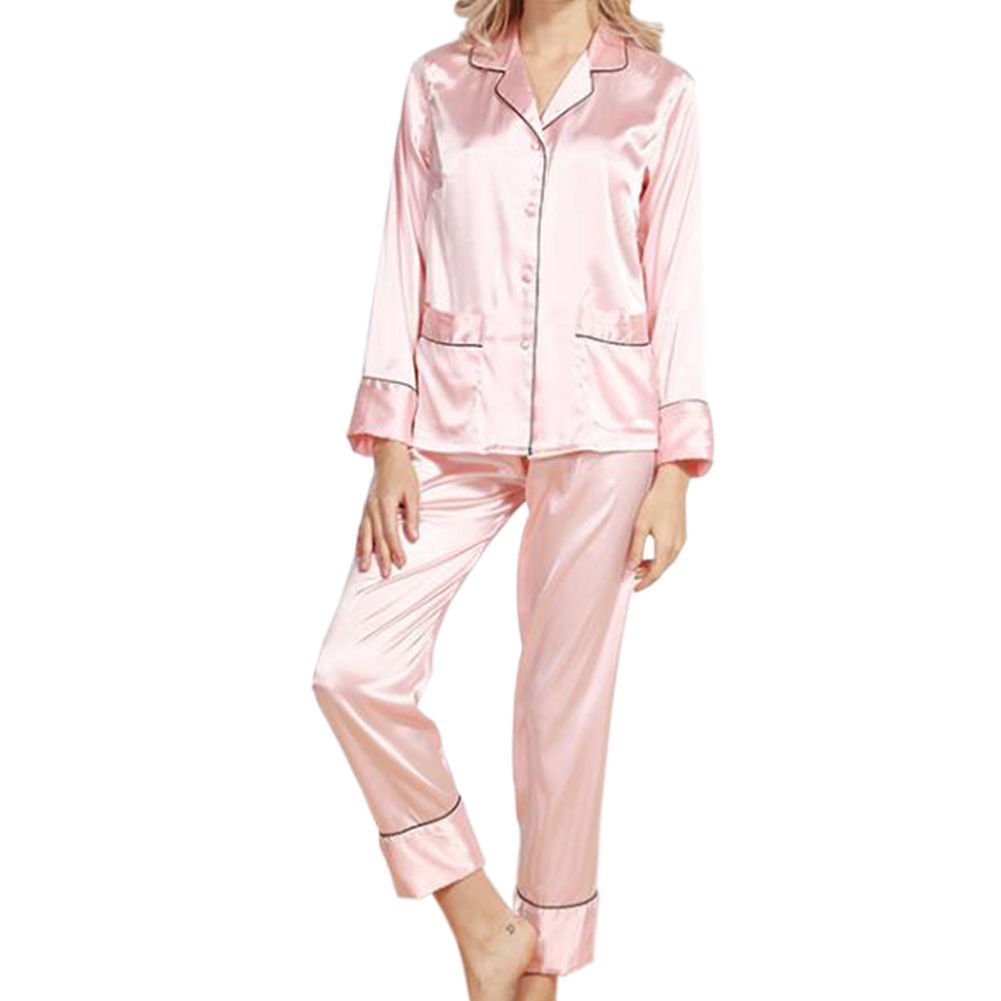 Xinvision Silk Long Sleeve Pyjamas Set Sleepwear Nightwear Loungewear for Women at Amazon Womens Clothing store: