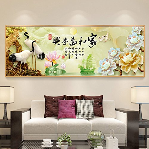 Sykdybz The New Home And Everything Xianhe Relief Full Diamond Cross Stitch Diamond Painting Chinese Living Room,18070Cm