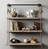 ALUS- Industrial style retro hemp rope shelves solid wood to do the old wall hanging racks iron water pipe racks creative bookshelves ( Size : 602595cm )