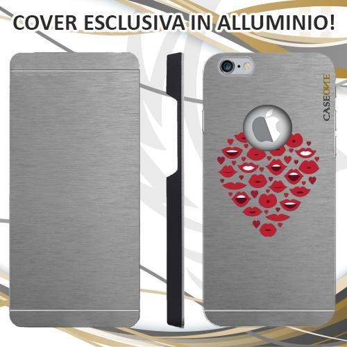 CUSTODIA COVER CASE HEART MOUTH PER IPHONE 6S ALLUMINIO TRASPARENTE