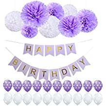 Purple Happy Birthday Bunting Banner, Tissue Paper Pom Poms Flowers and polka dots Balloons,Perfect for 1st 21st 30th 40th 50th 60th 70th Birthday Party Decorations