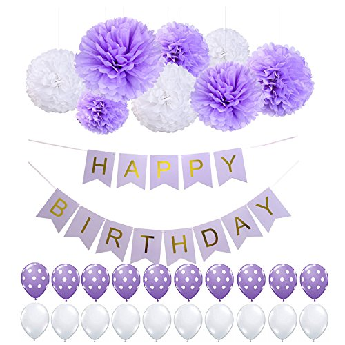 Purple Happy Birthday Bunting Banner, Tissue Paper Pom Poms Flowers and polka dots Balloons,Perfect for 1st 21st 30th 40th 50th 60th 70th Birthday Party (Purple 30th Birthday Decorations)