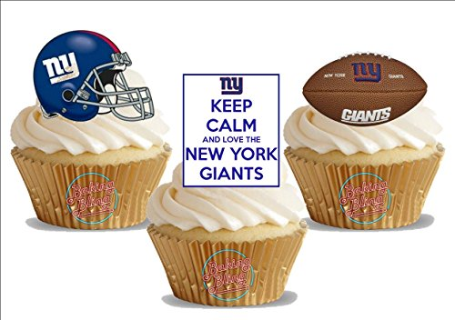 American Football New York Giants Trio Mix- Fun Novelty Birthday PREMIUM STAND UP Edible Wafer Card Cake Toppers -