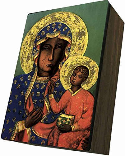 Catholic to the Max|Lady of Czestochowa Icon, 4x6.5x2.5in Wooden Keepsake Rosary Jewelry Box, Suede Matte
