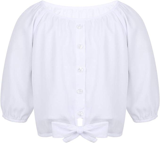 Alvivi Blusa Blanca Niña Manga Corta de Gasa Camisa Otoño Manga ...