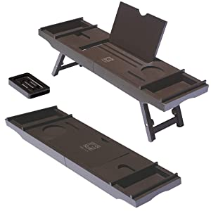 3-in-1 Premium Bathtub Caddy, Laptop Desk & Bed Tray with Extendable Arms and Adjustable Legs - Includes a Free Soap Dish, Two Spa Trays and Tablet/Wine Glass/Candle/Phone Holders - Brown Color