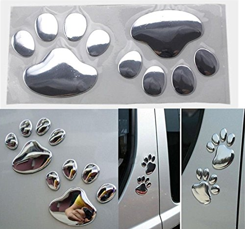 [1 Pairs Paradisiacal Popular 3D Pets Paw Car Sticker Cat Emblem Dog Foot Prints Window Badge Colors Silver] (Diamond Skull Belts Clothing)