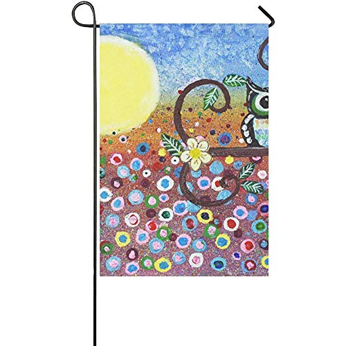 HGDGF Variety Eco-Friendly Manual Custom Home Flag Demonstration Flag Game Flag Abstract Owl in Forest Oil Painting Halloween Moon Polyester Garden Flag Banner 12 x 18 -