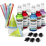 Hawaiian Shaved Ice 6 Flavor Fun Pack   Includes 6 Snow Cone Syrups [16oz Each] – Cherry, Grape, Blue Raspberry, Tiger's Blood, Lemon-Lime, Pina Colada, 50 Snow Cone Cups, 50 Spoon Straws, 6 Pourers