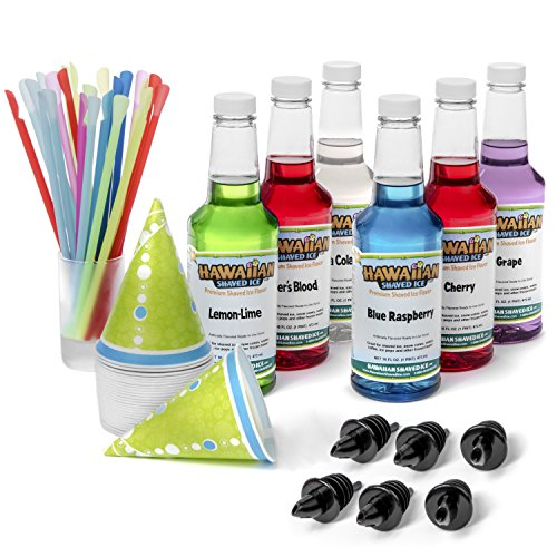 Hawaiian Shaved Ice 6 Flavor Fun Pack | Includes 6 Snow Cone Syrups [16oz Each] - Cherry, Grape, Blue Raspberry, Tiger's Blood, Lemon-Lime, & Pina Colada, 50 Snow Cone Cups, 50 Spoon Straws, 6 Pourers