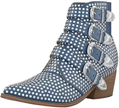 d80ee4e58 Themost Boot for Women, Comfy Crystal Rhinestone Ankle Boots Metal Buckle  Low Heels Wide Calf
