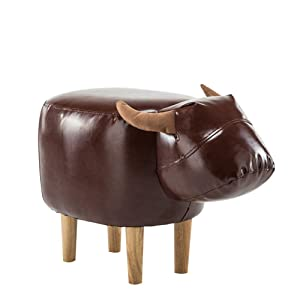 Softneco Tapizado Escabel del otomano, Ride-on con Vivid Adorable Forma Animal Taburete reposapiés Banco de Cambio de Zapatos para niños-