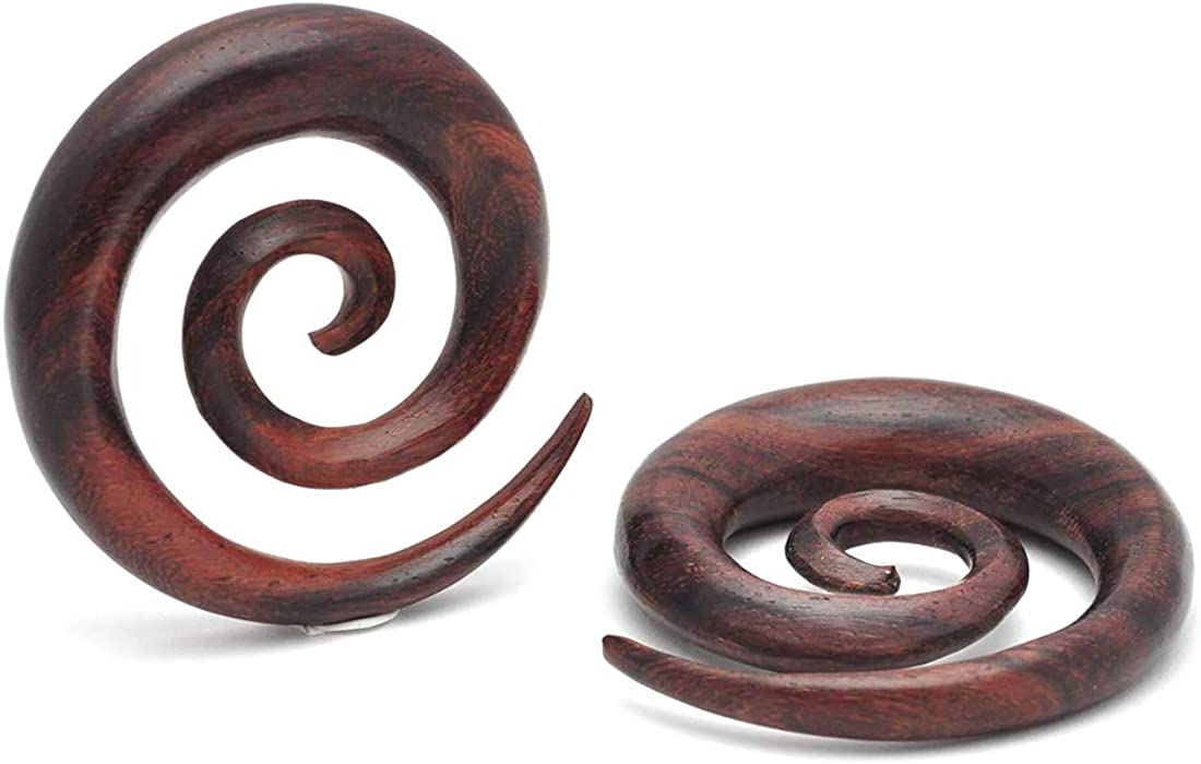 Plugs gauges Mystic Metals Body Jewelry Sono Wood Super Spirals Sold As a Pair PW-325