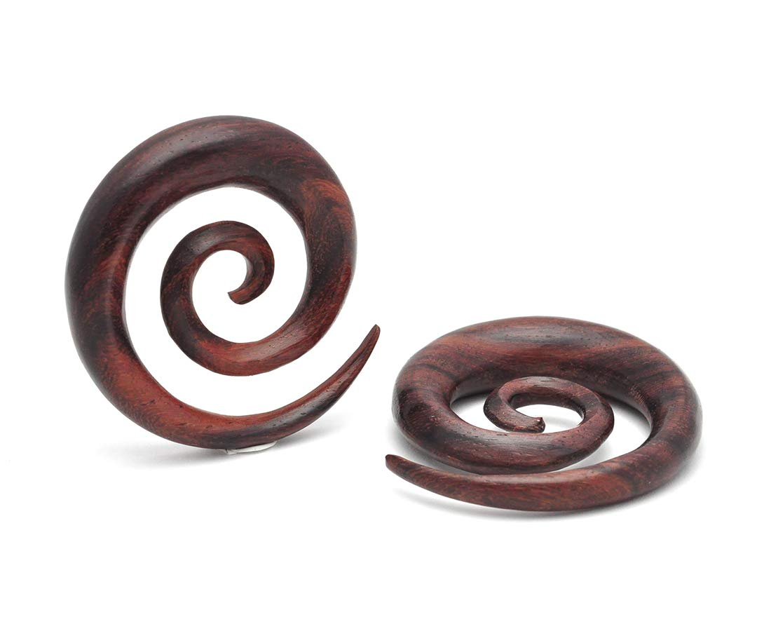 Mystic Metals Body Jewelry Sono Wood Super Spirals (PW-325) Plugs gauges - Sold As a Pair (1/2'' (12mm))