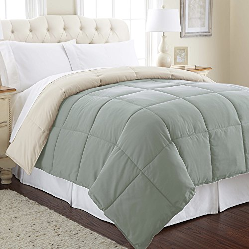Amrapur Overseas Goose Down Alternative Microfiber Quilted Reversible Comforter / Duvet Insert - Ultra Soft Hypoallergenic Bedding - Medium Warmth for All Seasons - [Full/Queen, Seafoam/Almond]