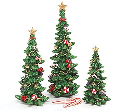 set of 3 decorated christmas tree figurines for holiday home decor - All Ready Decorated Christmas Trees