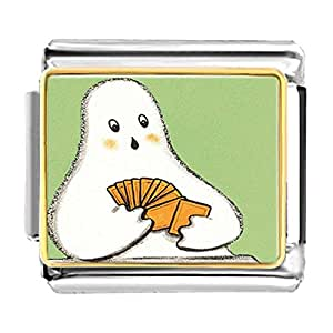 Chicforest Gold Plated Halloween ghost play card Bracelet Link Photo Italian Charms