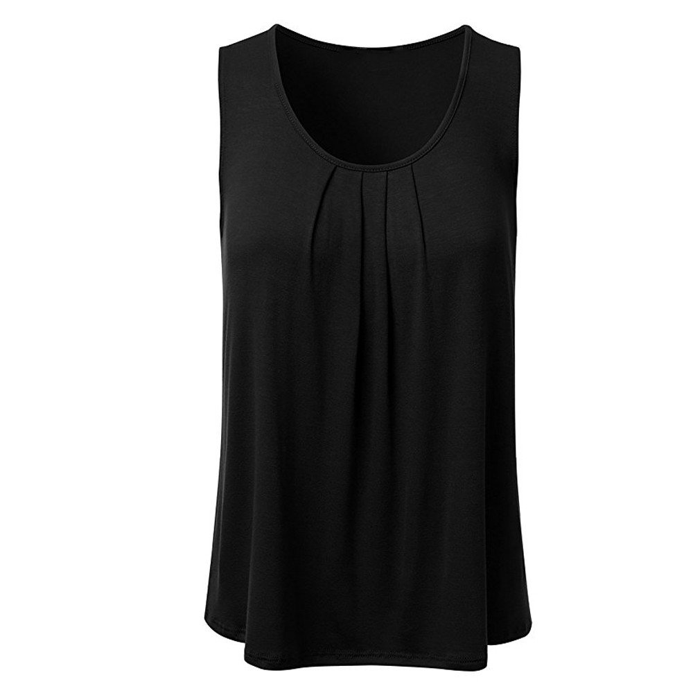 WYTong Women's Casual Solid Sleeveless T Shirt Pleated Crew Neck Loose Fitness Yoga Tank Top Blouse(Black,L)