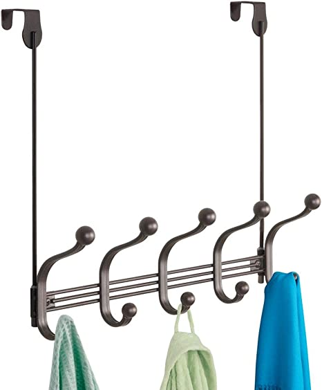 Scarves and Purses Hats Bronze 4 Hooks iDesign York Lyra Metal Wall Mount Entry and Hallway Storage Quad Hook for Jackets
