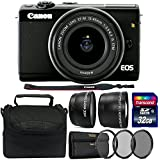 Canon EOS M100 Mirrorless Digital Camera with 15-45mm Lens (Black) + 58mm UV CPL ND Filter + Telephoto&Wide Angle Lens + 49-58mm Step-up Ring + 32GB Memory Card + Case