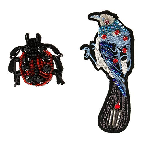 2Pcs Bird and Ladybird Rhinestone Bead Patches Sew on Embroidery Applique
