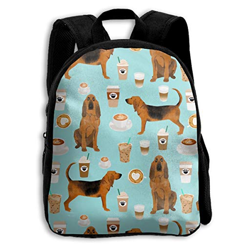 The Children's Bloodhound Fabric Dogs And Coffees Backpack