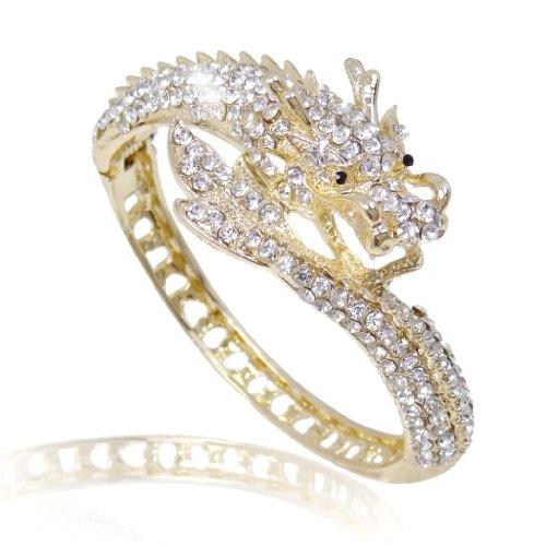 EVER FAITH Women's Austrian Crystal Cool Animal Fly Dragon Bangle Bracelet Clear Gold-Tone