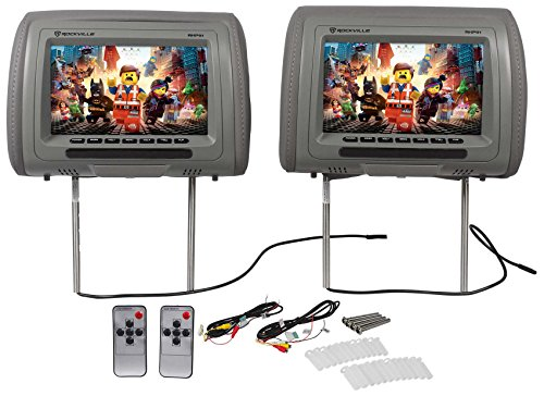 "Gray Headrest (Pair Rockville RHP91-GR 9"" Digital Panel Gray Car Headrest Monitors w/ Speakers)"