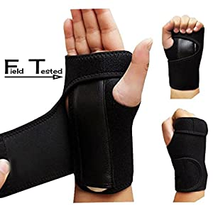 Wrist Brace - Field Tested BEST -Wrist Support splint Martial Arts, Tennis, Bike, and Motorcycle , Prevention Wrist Injury, Carpal Tunnel Syndrome,Wrist Pain One size fits most! (LEFT HAND)