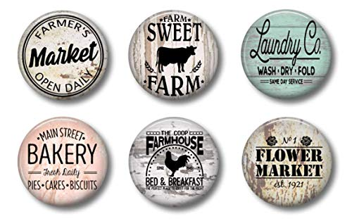 FARMHOUSE MAGNETS - Set of 6 - Fridge Magnets - Cute Whiteboard Magnets For Home School or Office (Farmhouse Set 1) ()
