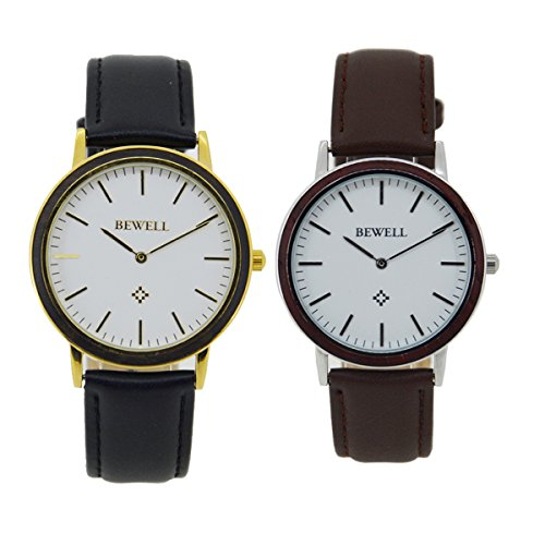 Bewell-Classic-Unique-Wooden-Watch-with-Leather-Strap-Water-Resistant-Casual-Analog-Quartz-Wrist-Watches