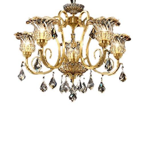 HOMEE Ceiling Chandelier-European Chandelier Living Room Crystal Lamp Copper American Simple Bedroom Lamp Luxury Restaurant Chandelier Atmosphere Retro Lighting,606045Cm-5 Heads by HOMEE