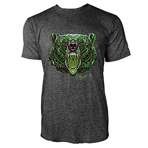 SINUS ART ® Gemusterter Bärenkopf im Ethno Stil Herren T-Shirts in dunkelgrau Fun Shirt mit tollen Aufdruck